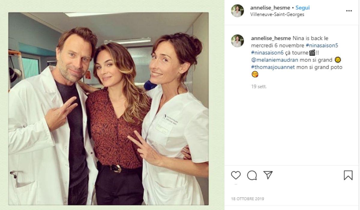 Screenshot di un post pubblicato su Instagram dall'attrice Annelise Hesme