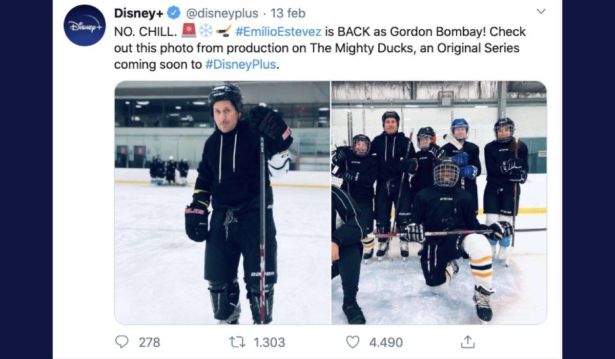Tweet pubblicato sul profilo verificato di Disney+ il 13 febbraio 2020, aggiornamento sulla produzione di The Mighty Ducks