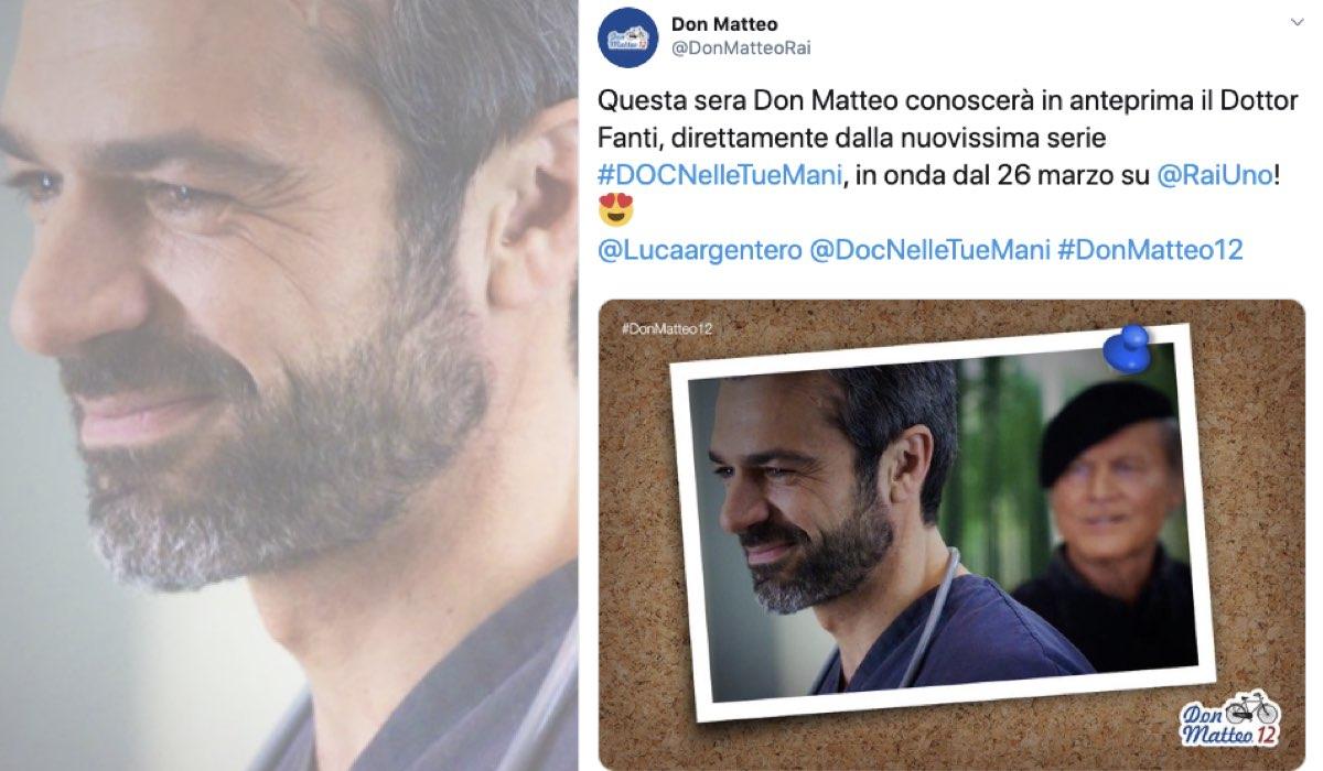 Tweet sul profilo Twitter ufficiale di Don Matteo che annuncia il crossover nell'ultima puntata di Don Matteo 12 con Doc - Nelle tue mani