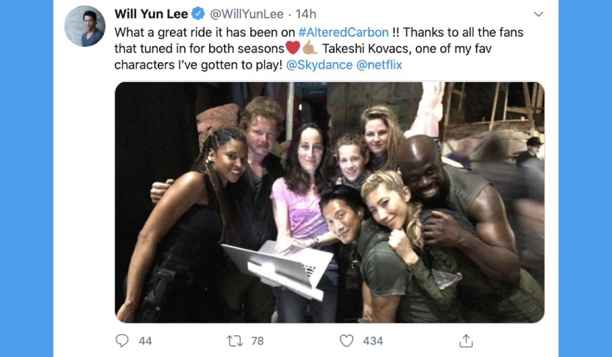 Tweet sul profilo verificato di Will Yun Lee del 26 agosto 2020 dopo la cancellazione di Altered Carbon 3 stagione