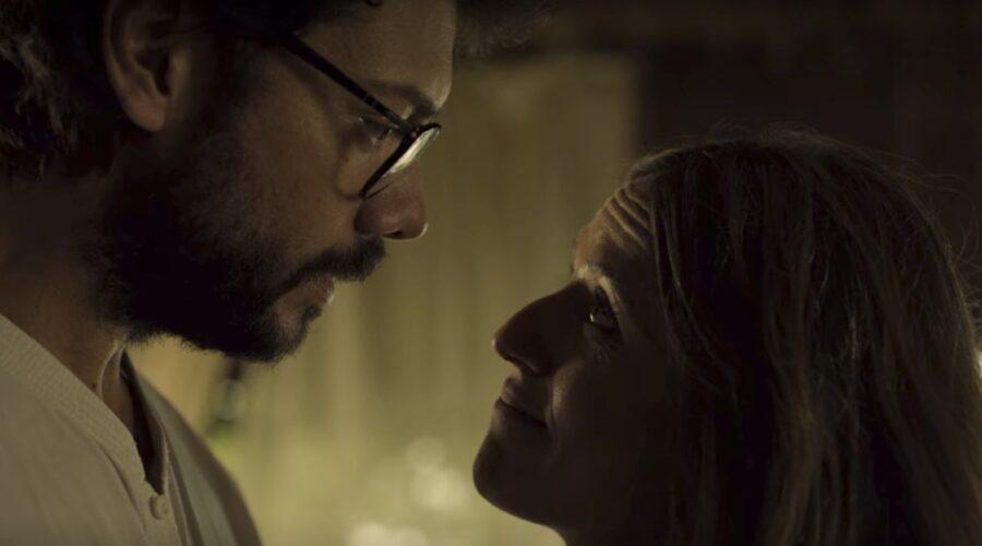 Alvaro Morte e Itziar Ituño sono Il Professore e Lisbona ne La Casa Di Carta 3x01 credits Netflix
