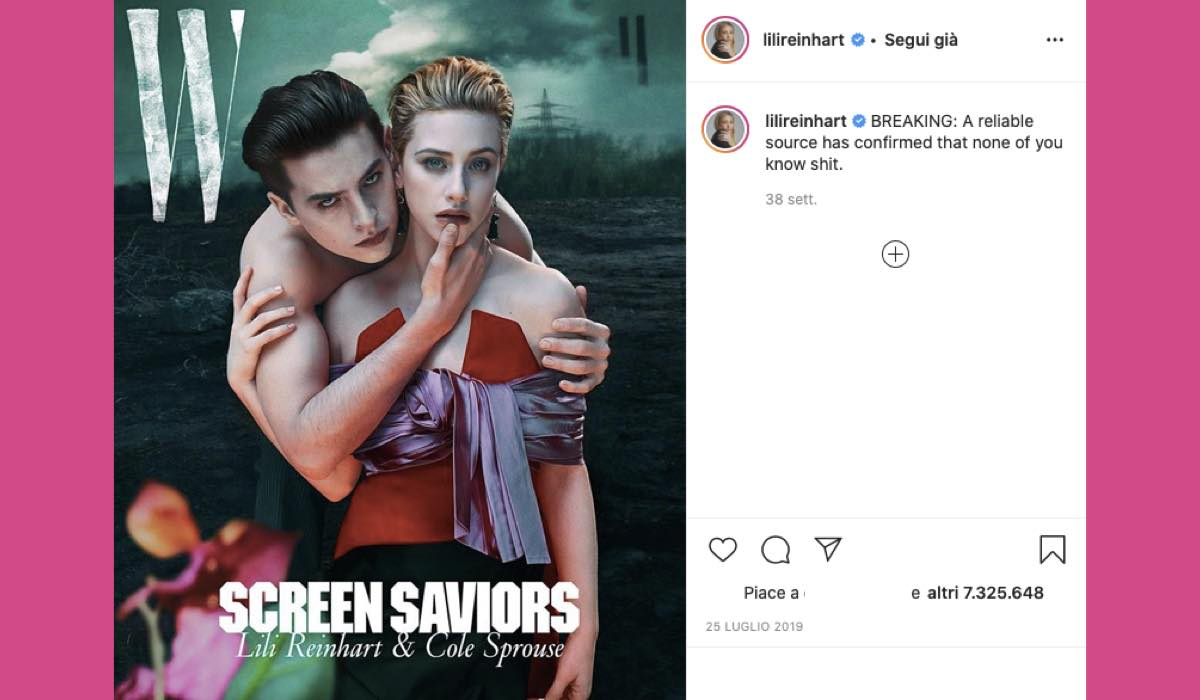 Cole Sprouse Lili Reinhart credits Instagram via @lilireinhart