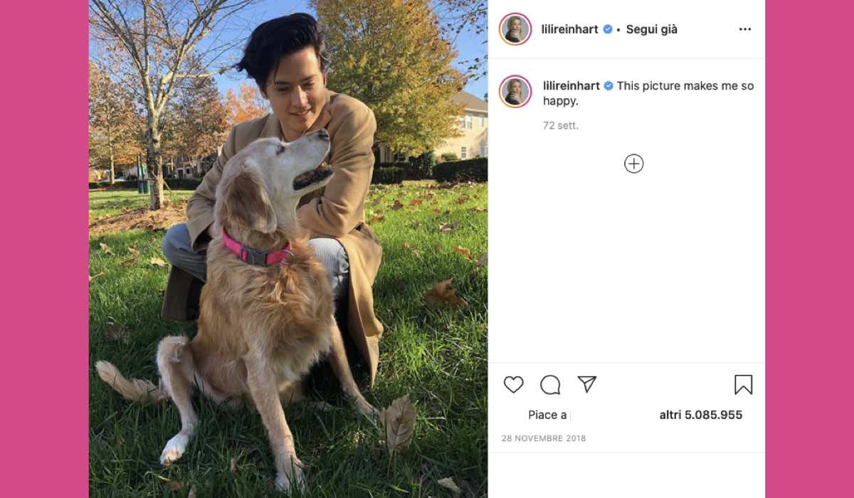 Cole Sprouse cane credits Instagram via @lilireinhart