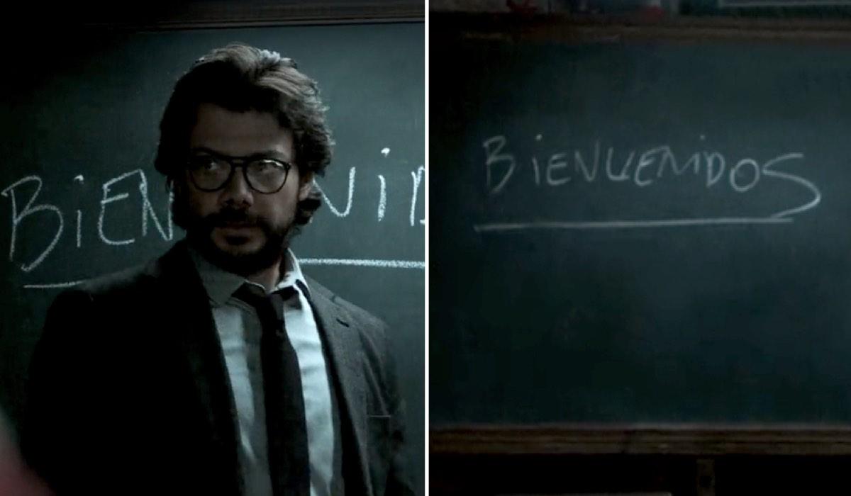 La Casa di Carta 1x01 Alvaro Morte nei panni del Professore errore lavagna credits Netflix
