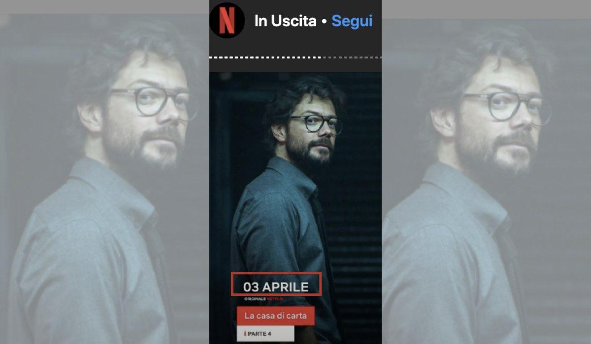 La casa di carta 4 su Netflix dal 3 aprile 2020 istantanea schermo dal profilo Instagram ufficiale di Netflix Italia