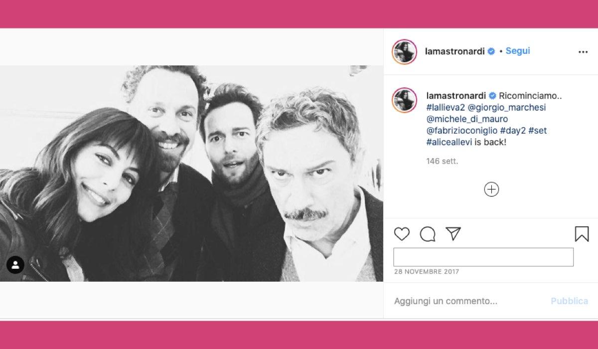 L'allieva 2 attori sul set, foto pubblicata da Alessandra Mastronardi sul suo profilo Instagram ufficiale il 28 novembre 2017