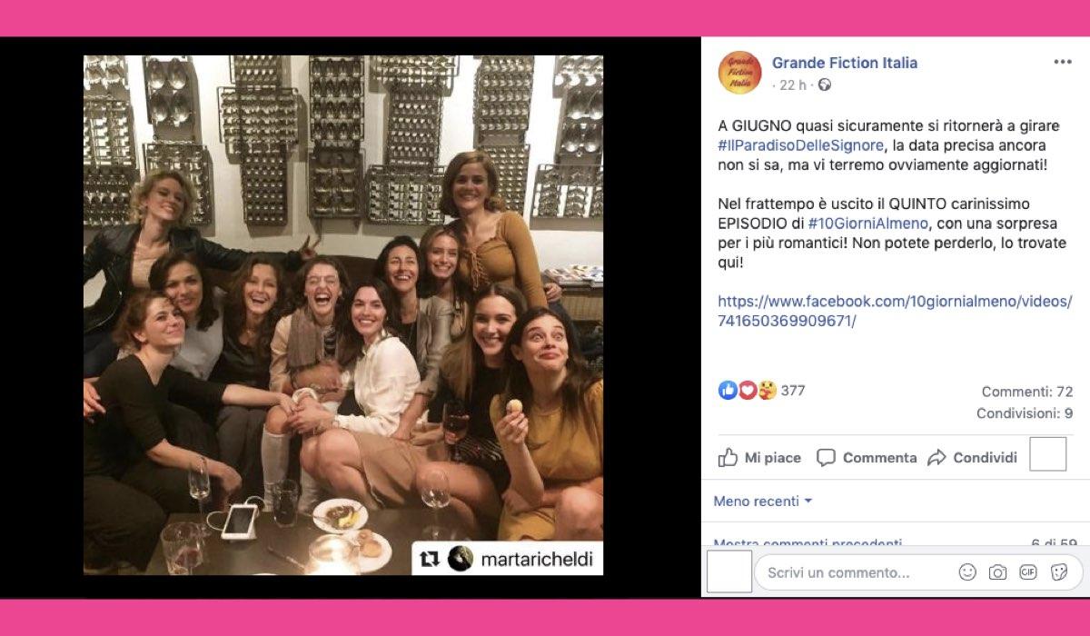 Il Paradiso delle Signore quando ripartono le riprese, indiscrezione pubblicata sulla pagina Facebook di Grande Fiction Italia