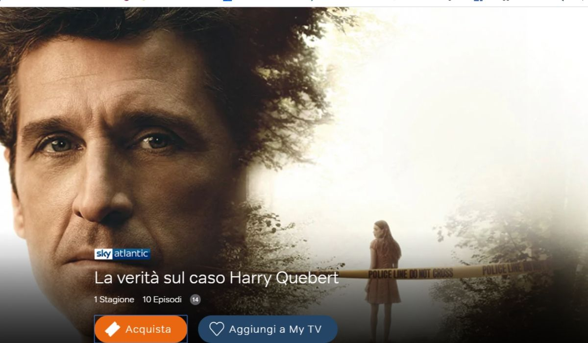 La verità sul caso Harry Quebert con Patrick Dempsey è in streaming su NOW TV, Credits Sky