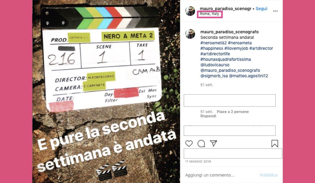 Nero a metà 2 stagione girata a Roma foto condivisa su Instagram da Mauro Paradiso