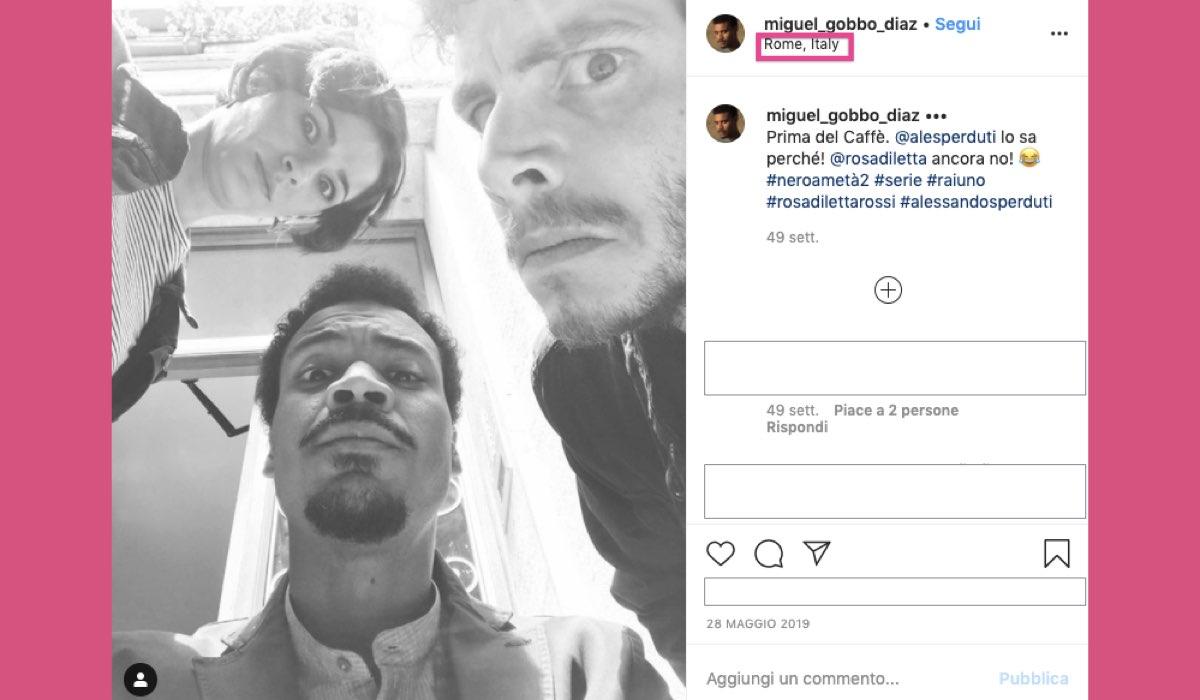 Nero a metà 2 stagione girata a Roma foto condivisa su Instagram da Miguel Gobbo Diaz