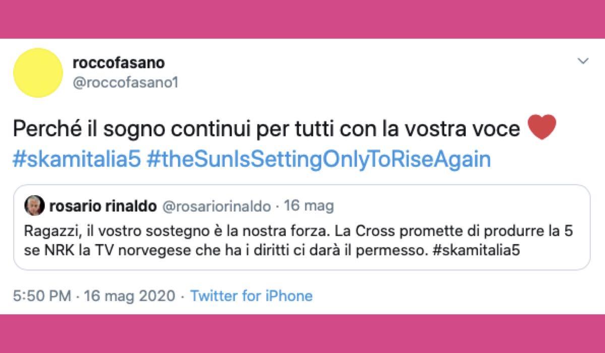 Rocco Fasano Twitter su Skam Itlia 5 credits @roccofasano1