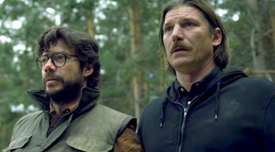 Alvaro Morte e Luka Peros sono Il Professore e Marsiglia ne La Casa di Carta 4x01 Credits Netflix