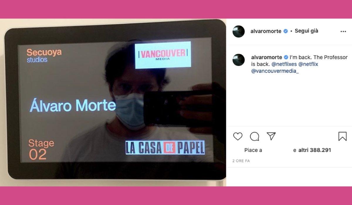 Alvaro Morte foto riprese La Casa di Carta 5 Credits Instagram @alvaromorte