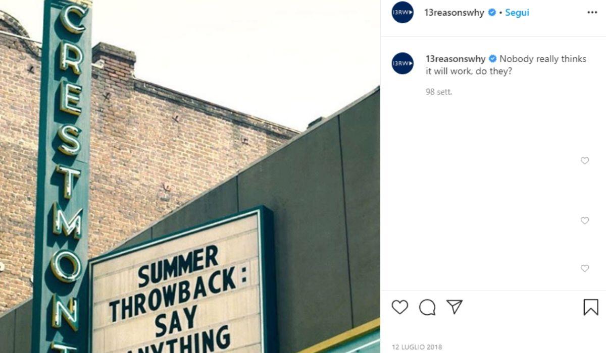 Foto del cinema di Tredici condivisa dall'account Instagram ufficiale 13reasonsWhy