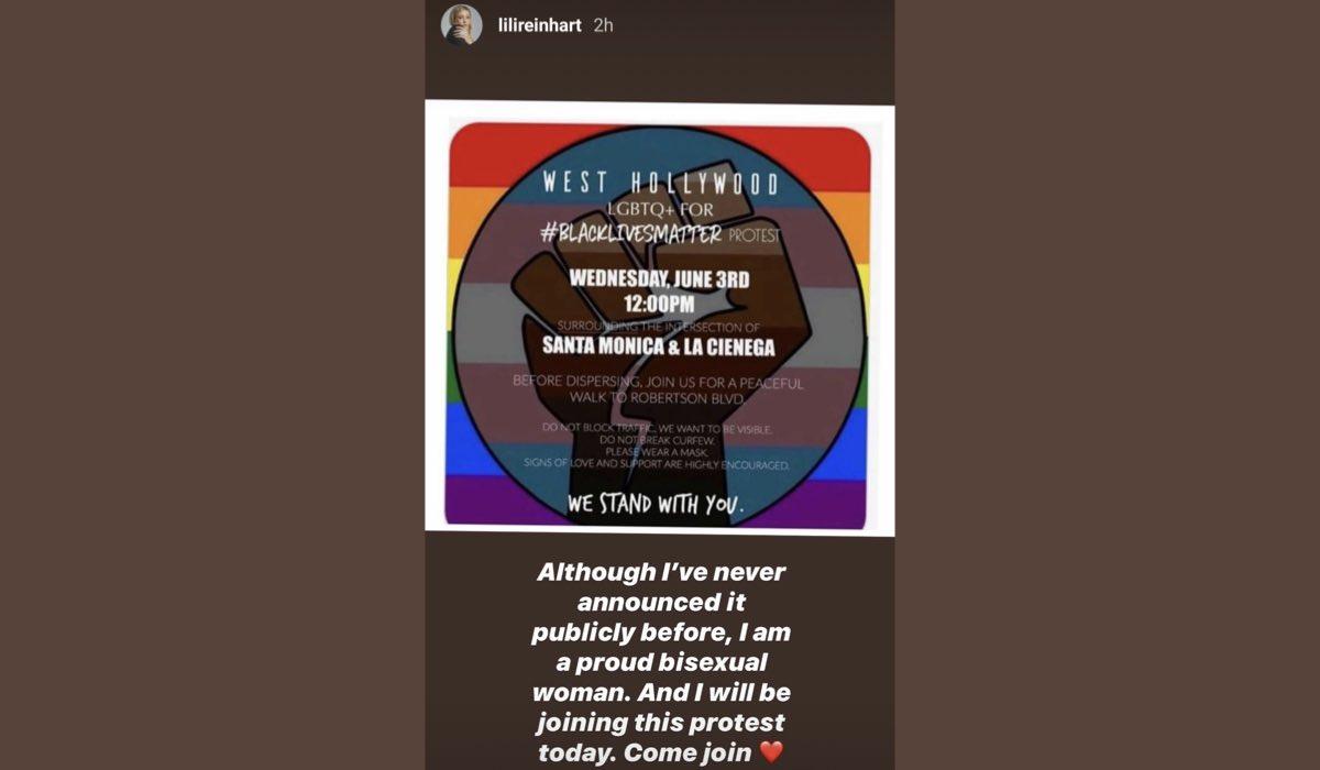 Lili Reinhart coming out credits Instagram Story via @lilireinhart