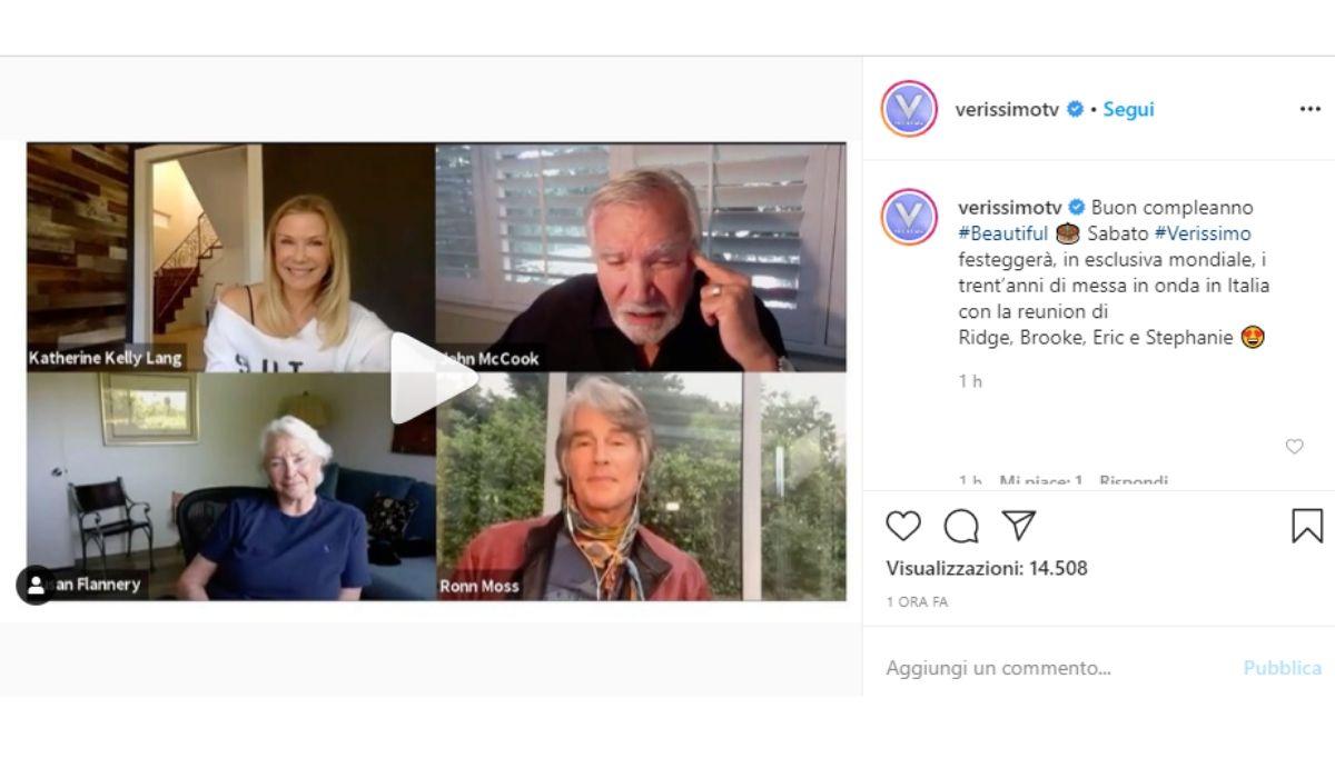 Reunion protagonisti Beautiful, foto condivisa sul profilo Instagram verificato di Verissimo