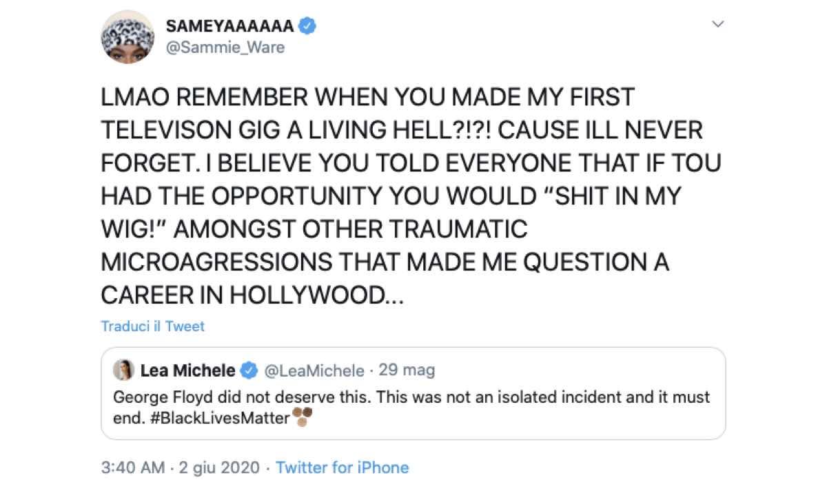 Samantha Ware risponde al Tweet di Lea Michele credits Twitter via @Sammie_Ware