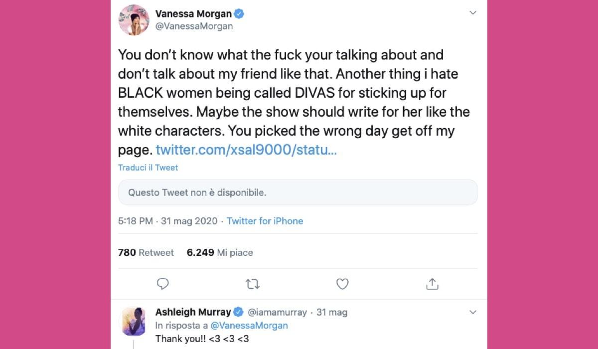 Vanessa Morgan Tweet su Ashleigh Murray credits Twitter via @VanessaMorgan