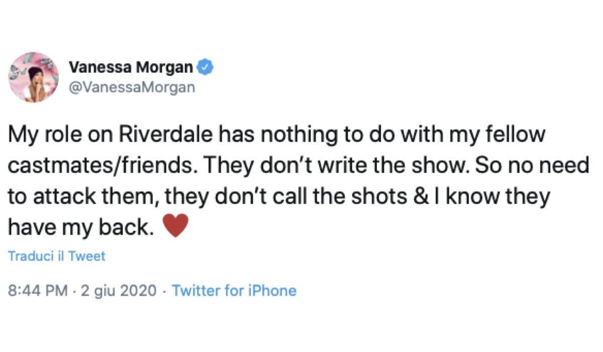 Vanessa Morgan Tweet su Riverdale credits Twitter via @VanessaMorgan