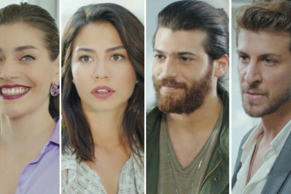Öznur Serçeler, Demet Özdemir, Can Yaman e Birand Tunca sono Leyla, Sanem, Can e Emre in Daydreamer Le Ali Del Sogno Credits Mediaset