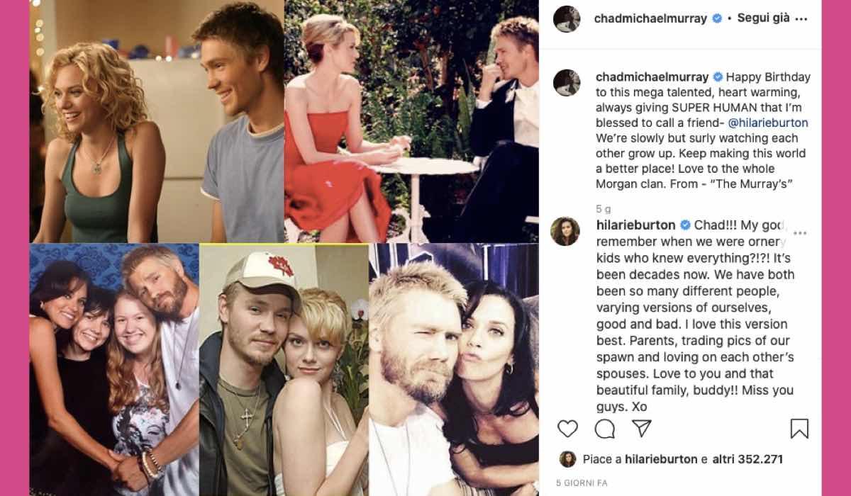 Chad Michael Murray augur a Hilarie Burton Credits Instagram via @chadmichaelmurray