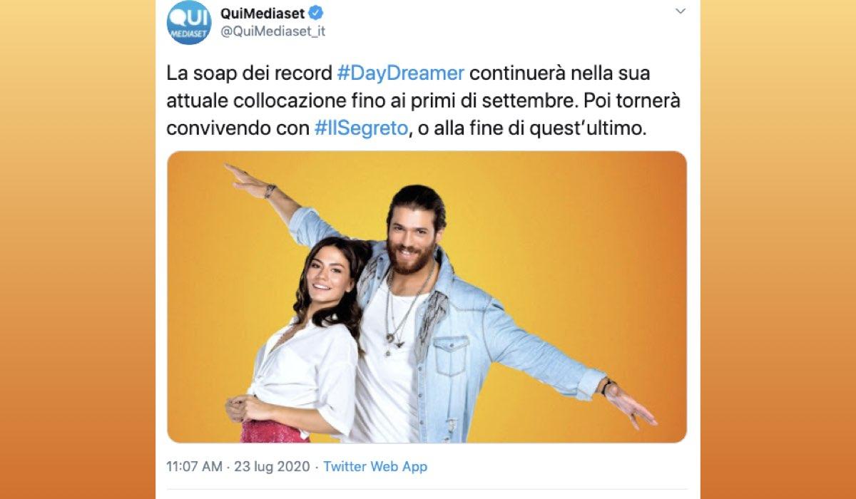 Daydreamer su Canale 5 fino a quando va in onda, tweet su QuiMediaset del 23 luglio 2020