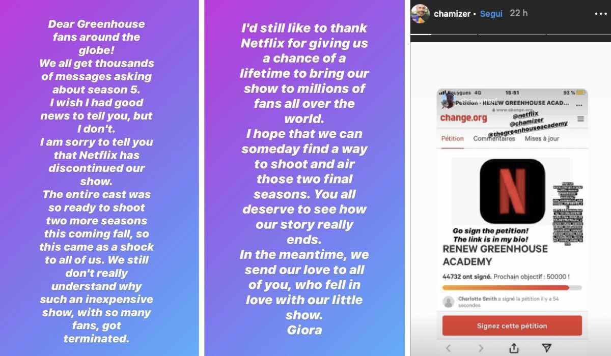 Giora Chamizer petizione Greenhouse Academy 5 e 6 Instagram Story via @chamizer