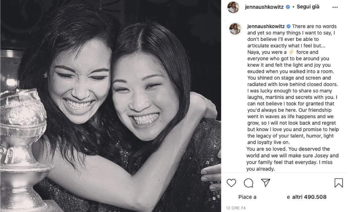 Jenna Ushkowitz insieme a Naya Rivera in un post Instagram di Jenna Ushkowitz Credits @jennaushkowitz