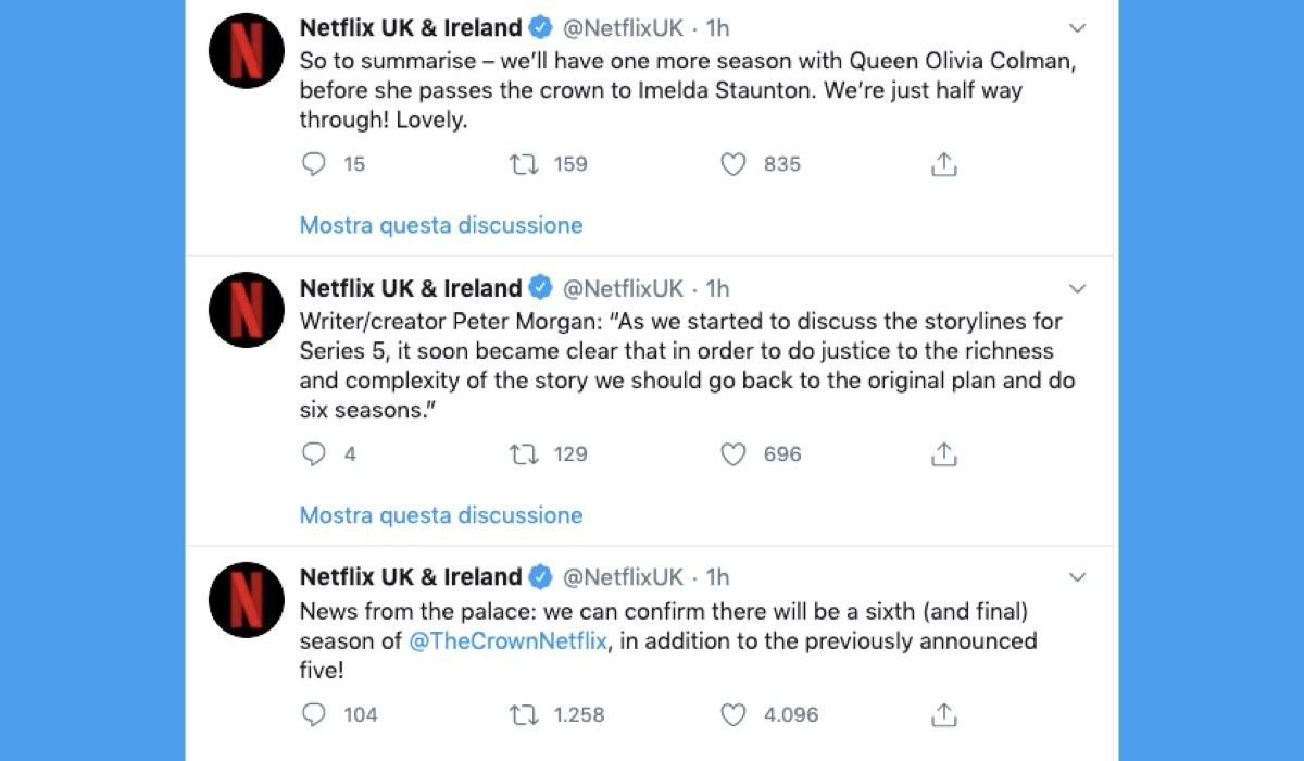 L'annuncio di The Crown 6 stagione sull'account ufficiale di Netflix UK & Ireland il 9 luglio 2020