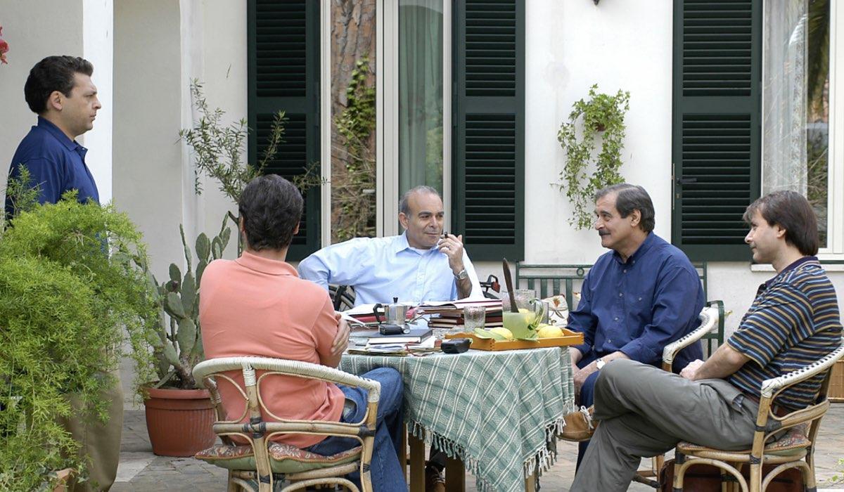 Paolo Borsellino, qui si spalle GIORGIO TIRABASSI, da sinistra NINNI BRUSCHETTA, ANDREA TIDONA, ENNIO FANTASTICHINI E SANTO BELLINA Credits PHOTOMOVIE - MONTESI