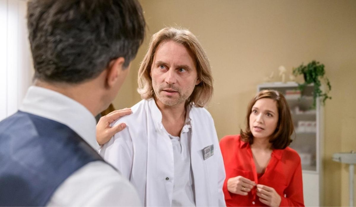 Robert, Michael ed Eva nella soap tedesca Tempesta d'amore Credits Das Erste