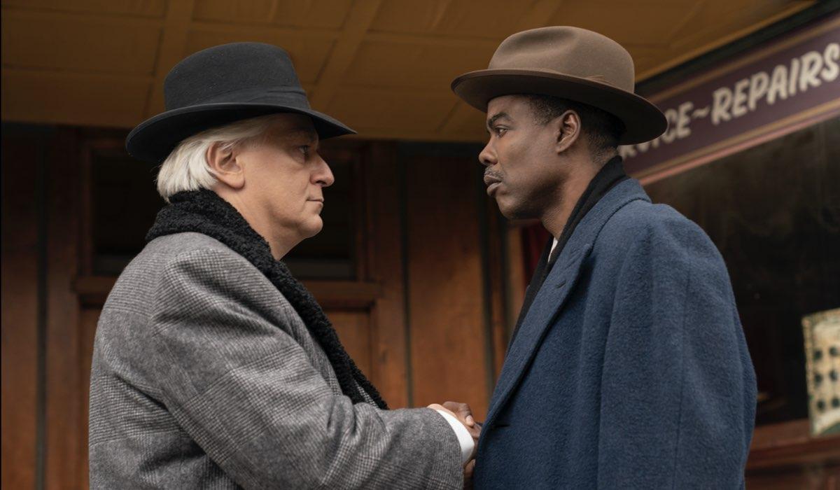 Da sinistra: Tommaso Ragno e Chris Rock nella quarta stagione di Fargo. Credits FX via Sky Italia.