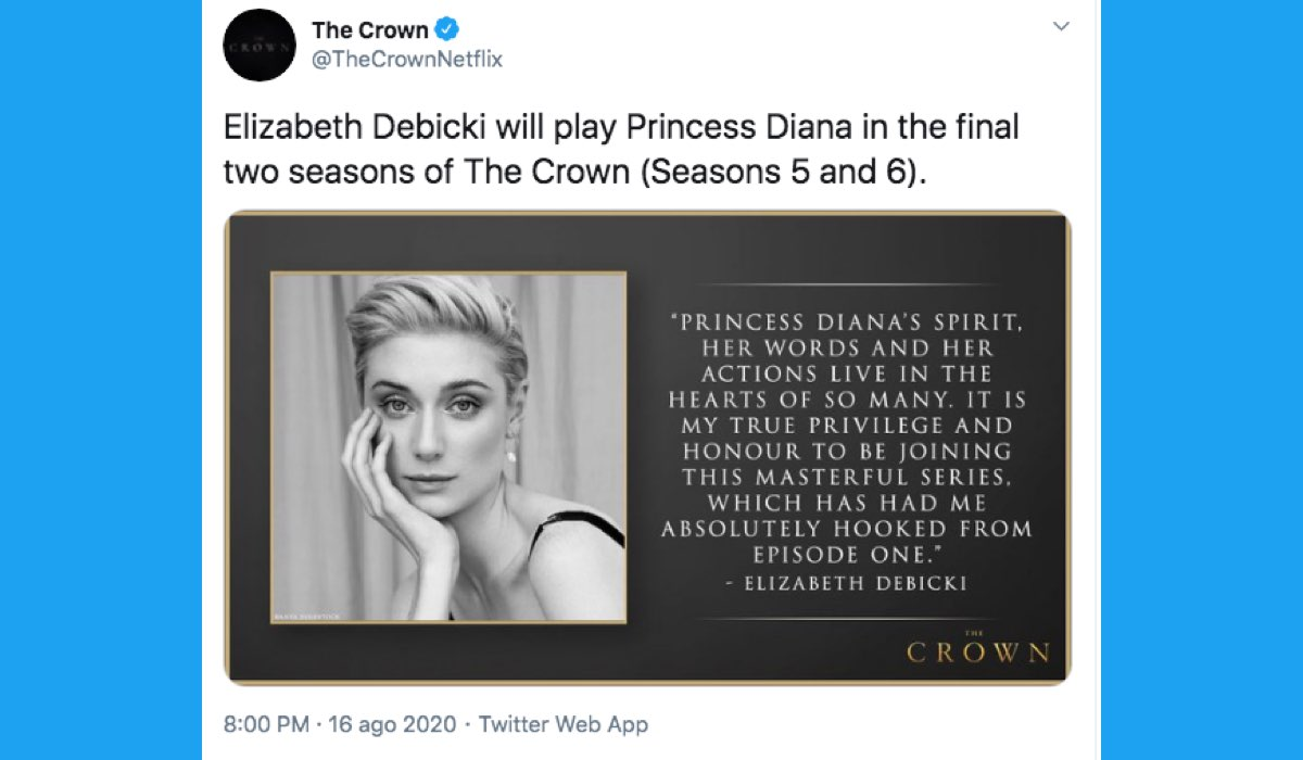 Elizabeth Debicki interpreta la Principessa Diana in The Crown 5 e 6, qui un Tweet dell'account ufficiale della serie