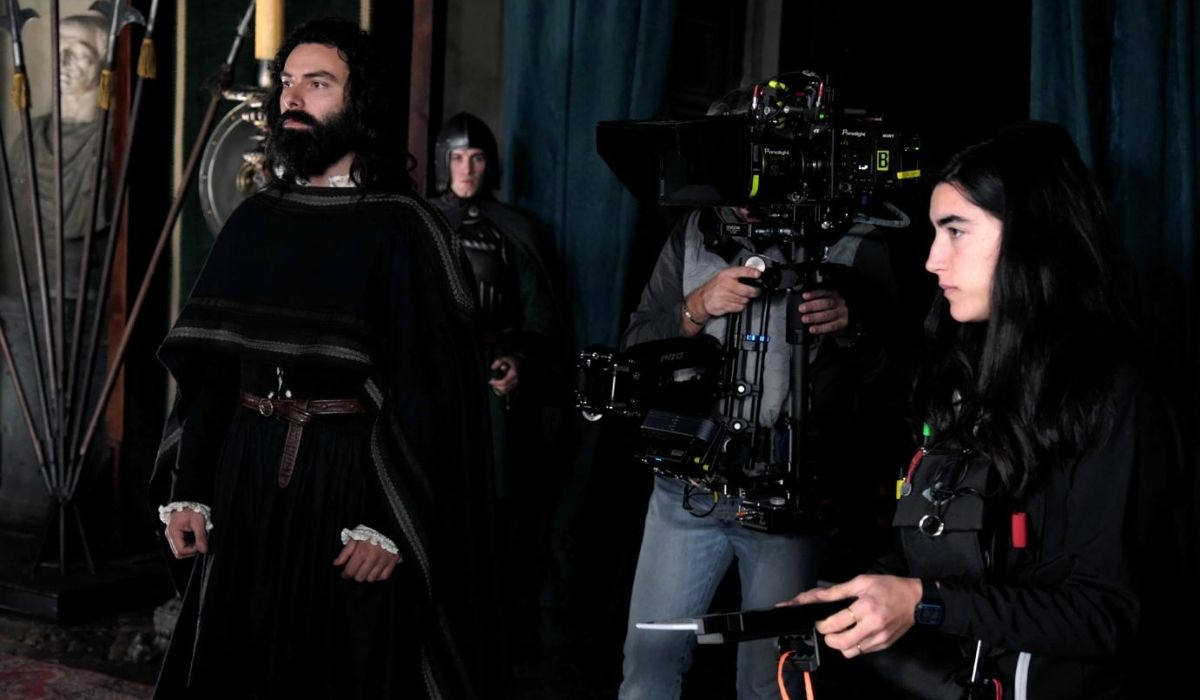 Sul set di Leonardo serie tv, Credits Lux Vide e Rai Fiction