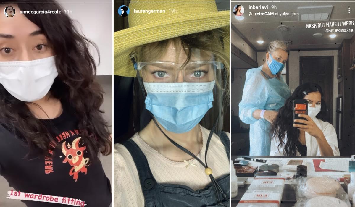 Aimee Garcia, Lauren German, Inbar Lavi sul set di Lucifer 5B credits Instagram story @aimeegarcia4realz @laurengerman @inbarlavi