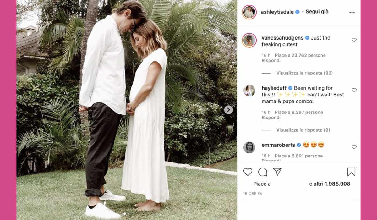 Ashley Tisdale incinta credits Instagram via @ashleytisdale