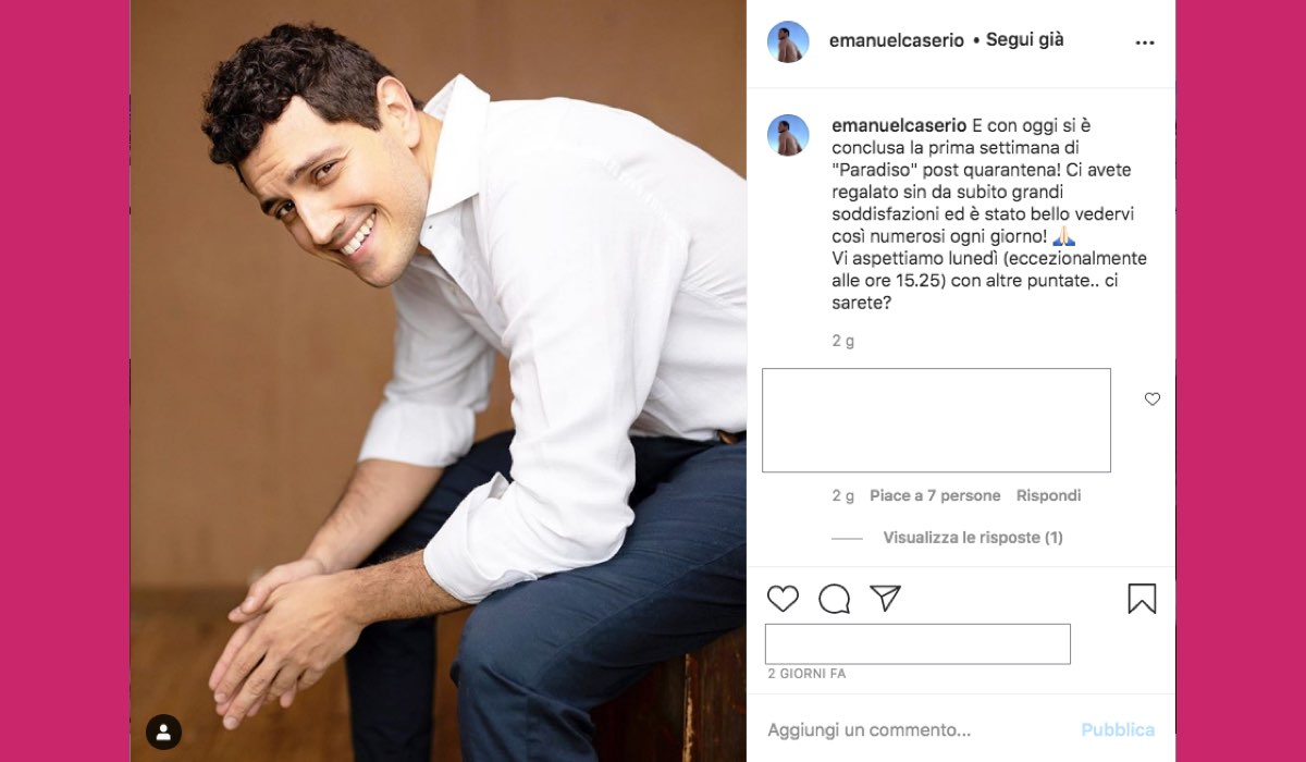 Foto pubblicata da Emanuel Caserio sul suo profilo Instagram venerdì 11 settembre 2020 in cui conferma il cambiamento di orario de Il Paradiso delle Signore 4 lunedì 14 settembre 2020
