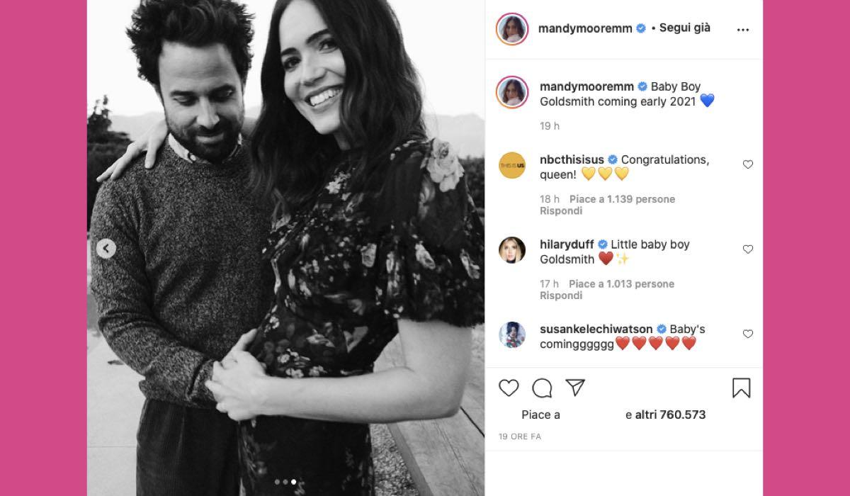 Mandy Moore post Instagram pancione Taylor Goldsmith credits @mandymooremm