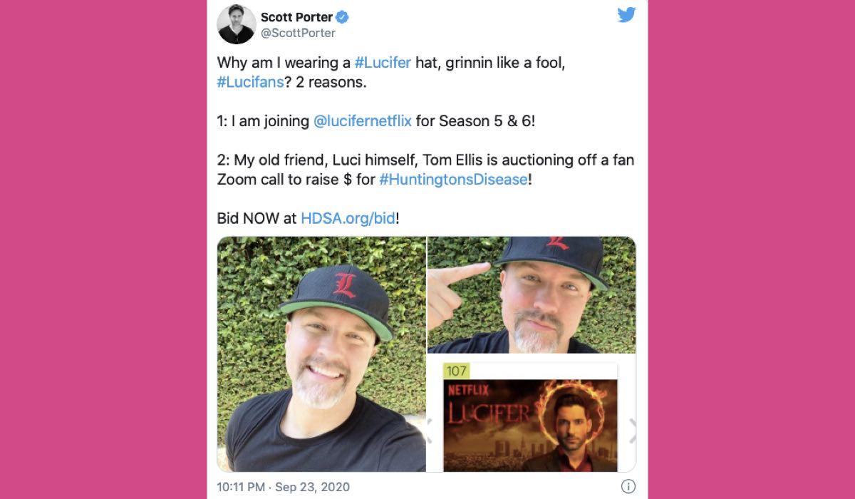 Scott Porter tweet in Lucifer 5B-6 credits Twitter via @ScottPorter