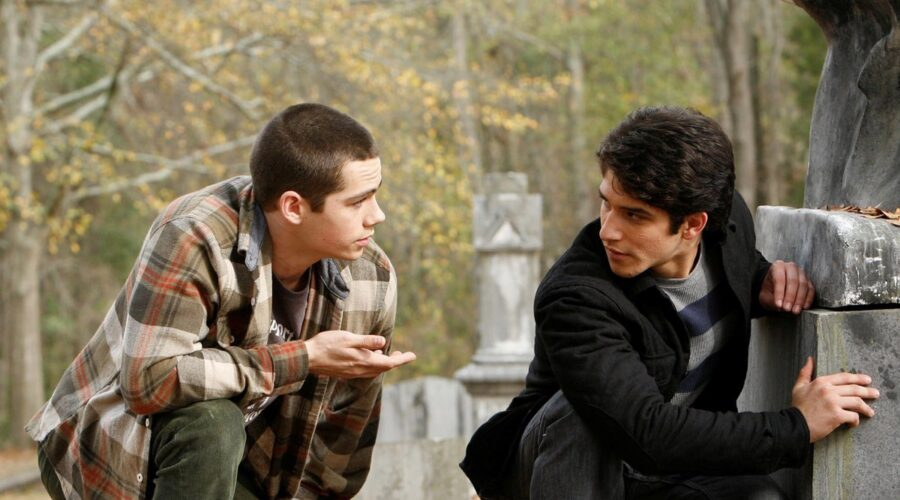TEEN WOLF, (from left)- Dylan O'Brien, Tyler Posey, (Season 2, 2012). photo- Quantrell D. Colbert : © MTV : Courtesy- Everett Collection