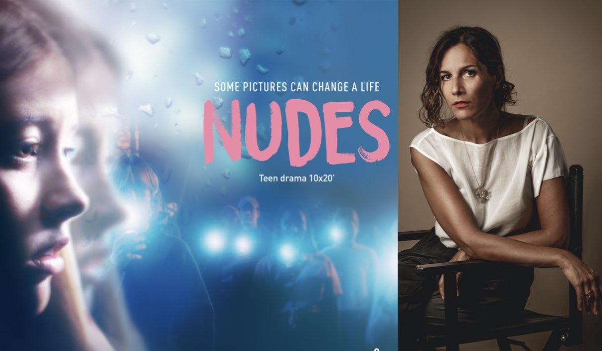 A sinistra: il poster di Nudes. A destra: la regista Laura Luchetti.