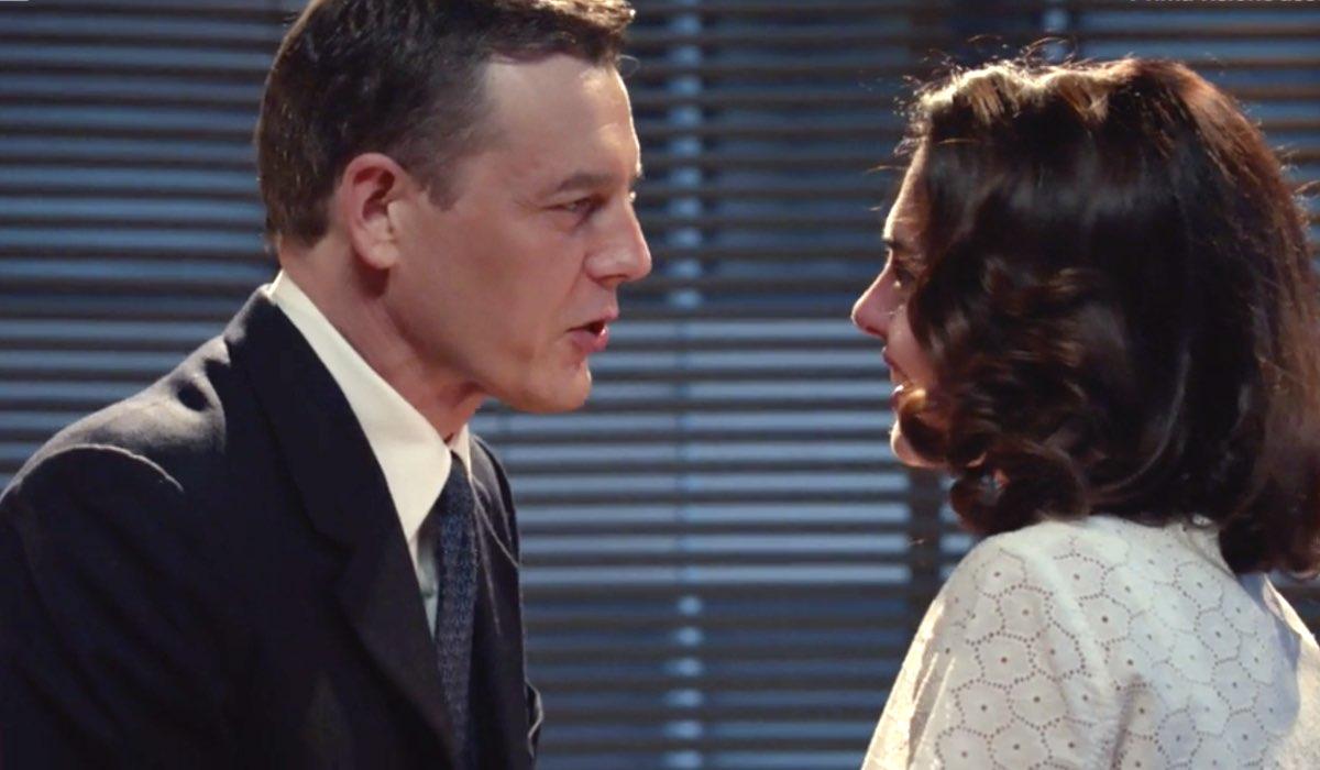 Il Paradiso delle Signore 4 Luciano chiede a Clelia di sposarlo anche se per finta, interpretati da Giorgio Lupano e Enrica Pintore nella puntata 160 Credits RAI