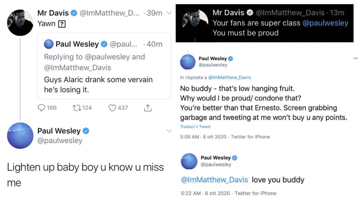 Matt Davis e Paul Wesley Twitter credits @ImMatthew_Davis e @paulwesley