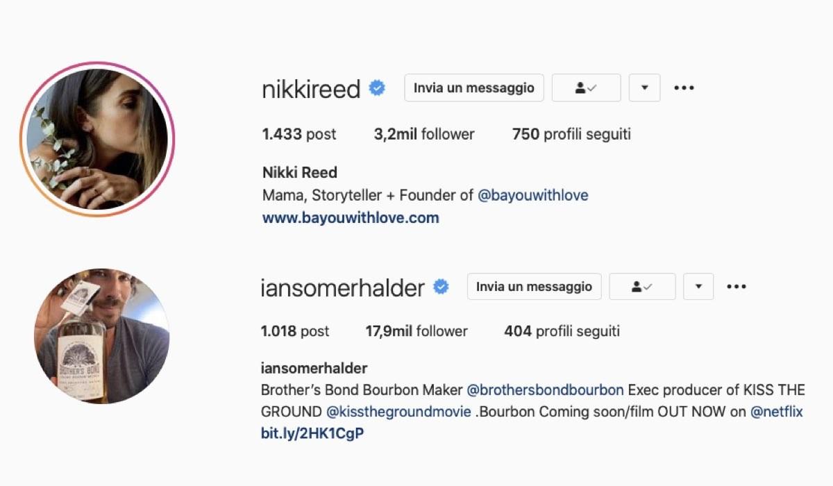 Nikki Reed e Ian Somerhalder profili Instagram credits Instagram via @nikkireed e @iansomerhalder