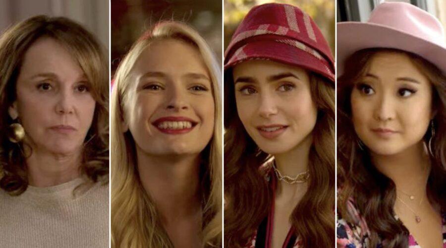 Philippine Leroy-Beaulieu, Camille Razat, Lily Collins e Ashley Park sono Sylvie, Camille, Emily e Mindy in Emily In Paris credits Netflix