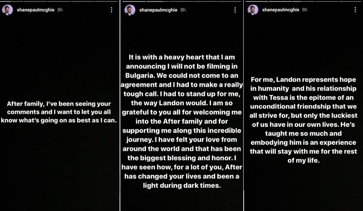 Shane Paul McGhie Instagram Story licenziamento After parte 1 credits @shanepaulmcghie