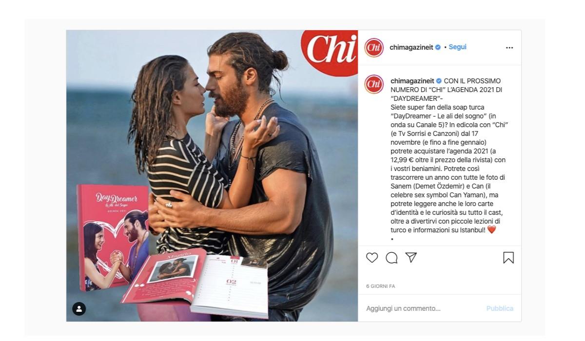 Agenda di Daydreamer 2021, post condiviso sull'account Instagram ufficiale di Chimagazine