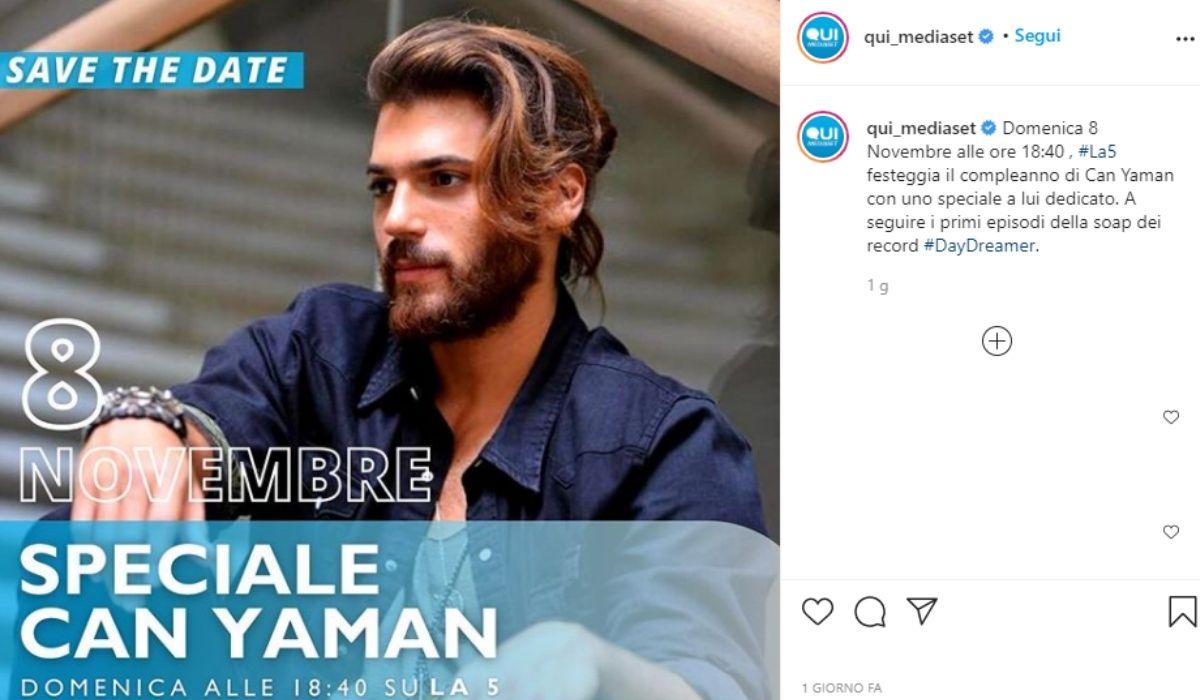 Appuntamento con lo speciale su Can Yaman, post condiviso sul profilo Instagram ufficiale Mediaset