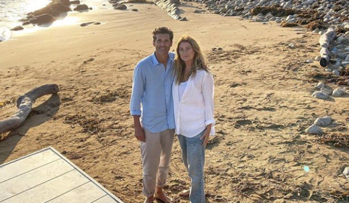 Da sinistra: Patrick Dempsey e Ellen Pompeo sul set di Grey's Anatomy 17x02. Credits: Krista Vernoff/Instagram.