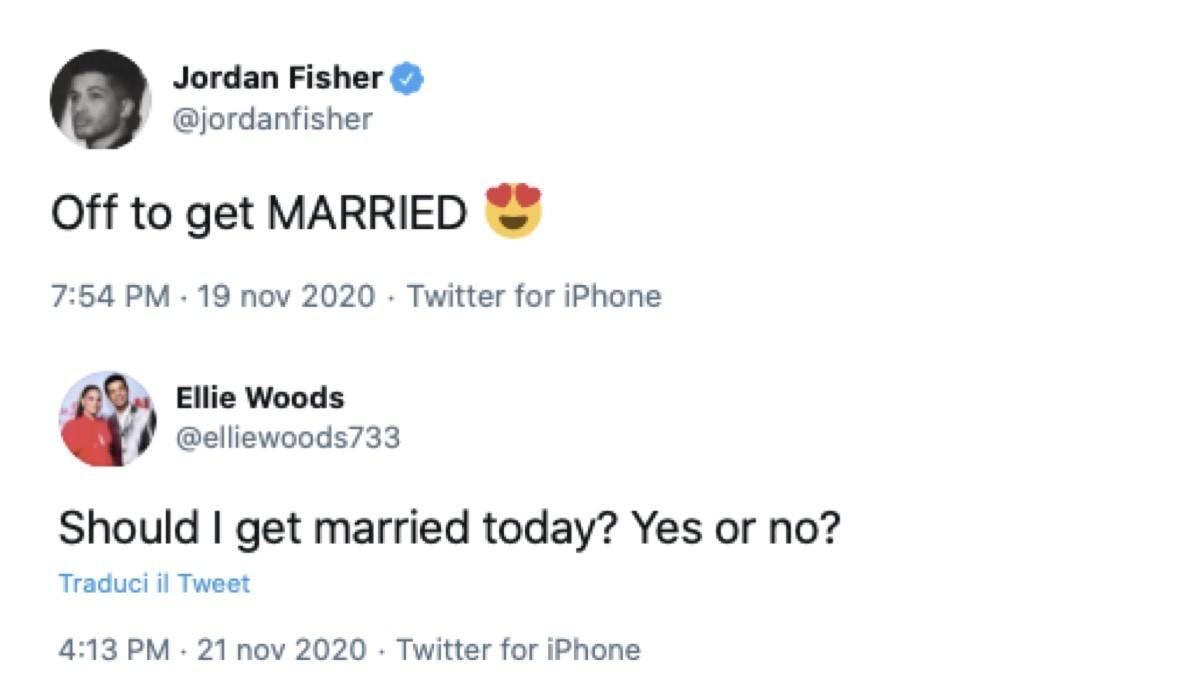 Jordan Fisher Ellie Woods tweet matrimonio credist Twitter via @jordanfisher e @elliewoods733
